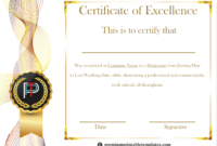 Certificate Of Excellence Template | Certificate Templates for Best Performance Certificate Template