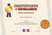 Certificate Of Excellence Template In Sport Theme For Basketball.. for Basketball Camp Certificate Template