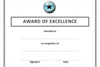 Certificate Of Excellence Template Word ] – Certificate Of inside Certificate Of Excellence Template Word