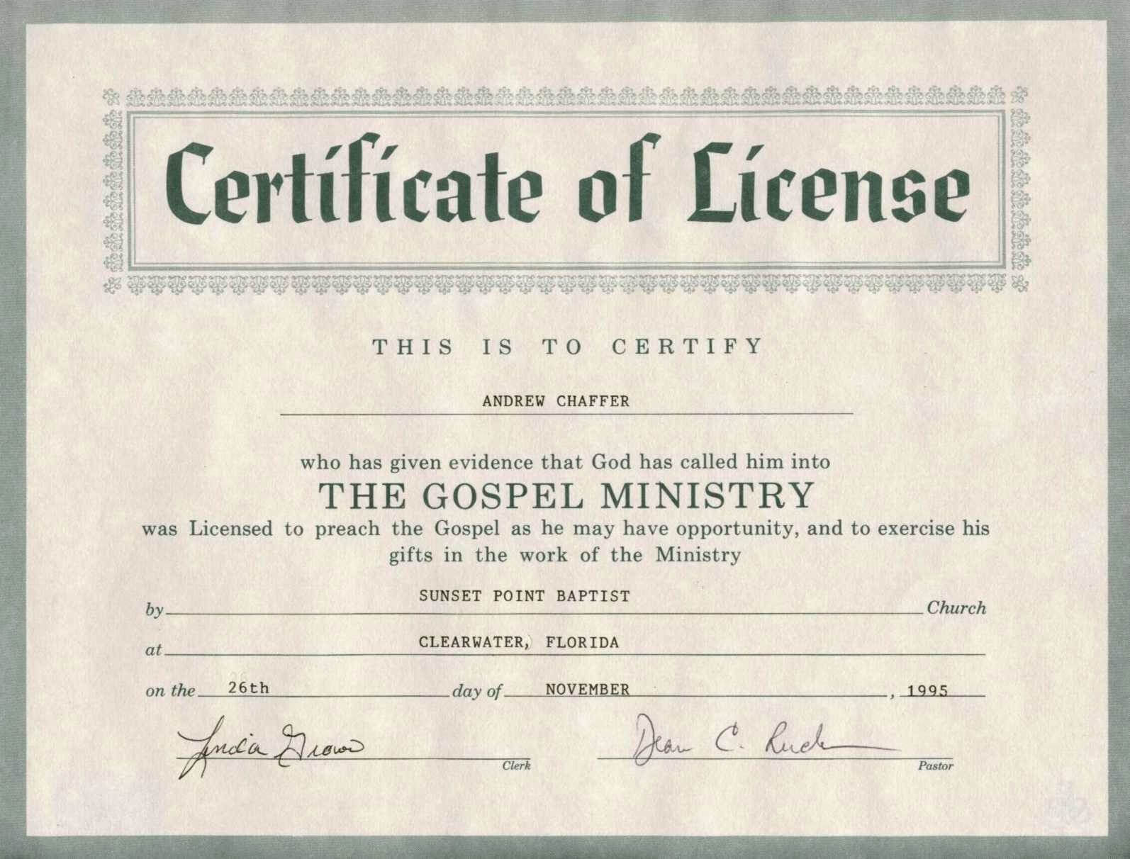 Certificate Of Ordination For Pastor Template Intended For Certificate Of License Template