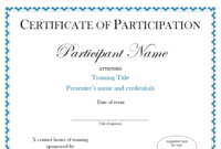 Certificate Of Participation Sample Free Download in Certificate Of Participation In Workshop Template