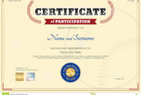 Certificate Of Participation Template In Baseball Sport In Sports Day Certificate Templates Free