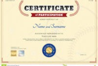 Certificate Of Participation Template In Baseball Sport Intended For Participation Certificate Templates Free Download