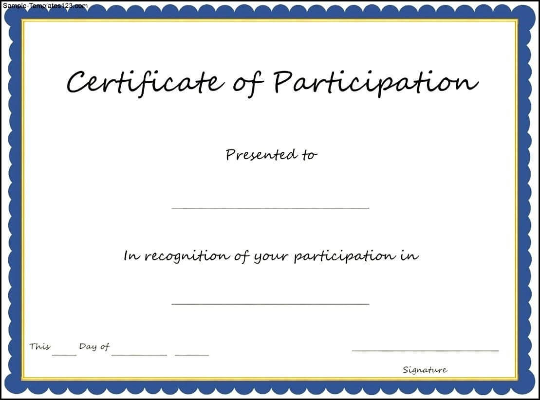 Certificate Of Participation Template , Key Components To Intended For Sample Certificate Of Participation Template