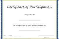 Certificate Of Participation Template , Key Components To regarding Certificate Of Participation Word Template