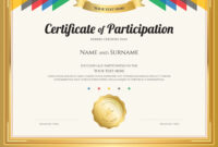 Certificate Of Participation Template with Certificate Of Participation Template Pdf