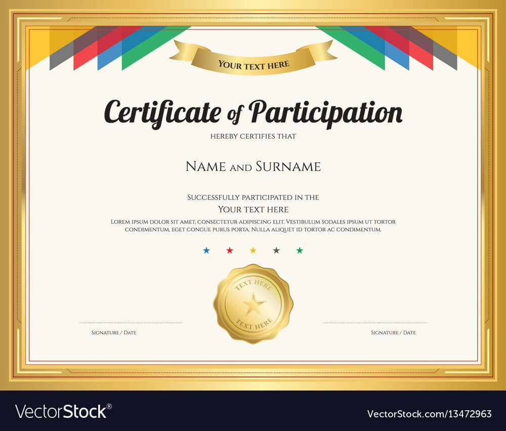 Certificate Of Participation Template With Gold Regarding Participation Certificate Templates Free Download