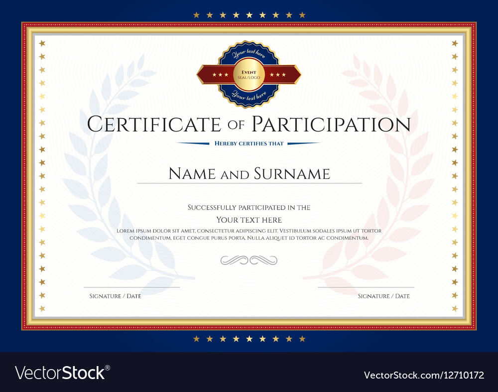 Certificate Of Participation Template With Laurel Within Certificate Of Participation Template Pdf