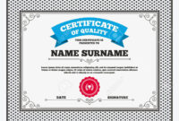Certificate Of Quality. First Place Cup Award Sign Icon. Prize.. for First Place Award Certificate Template