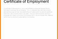 Certificate Of Service Template – Zimer.bwong.co for Employee Certificate Of Service Template