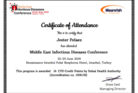 Certificate Of The Month – October 2018 – Maarefah within Conference Certificate Of Attendance Template