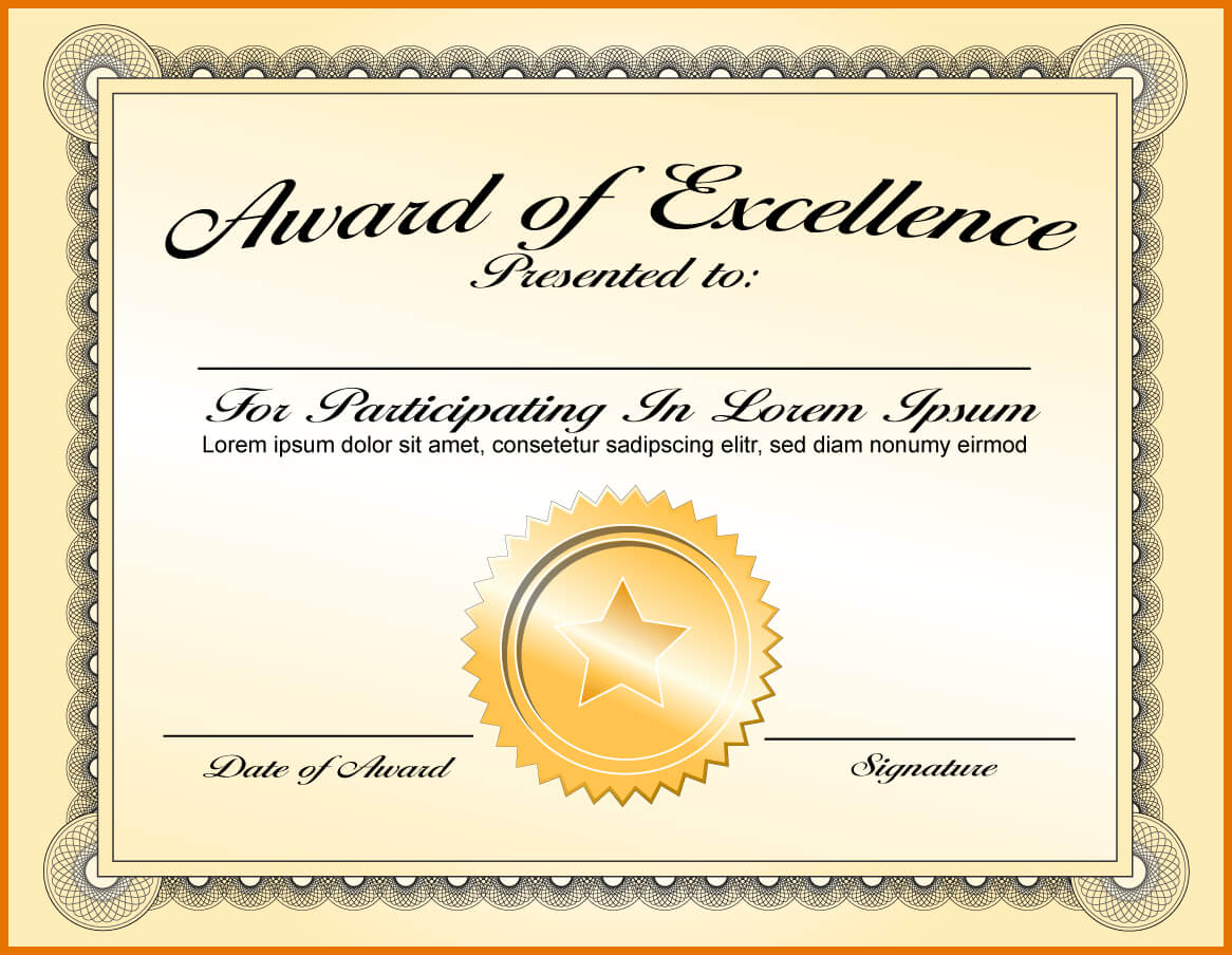 Certificate Template Academic Excellence | Sample Customer For Award Of Excellence Certificate Template