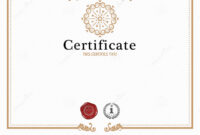 Certificate Template And Element. Stock Vector regarding Beautiful Certificate Templates
