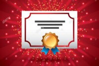 Certificate Template Award Diploma Medal Ribbon Star Lights in Player Of The Day Certificate Template