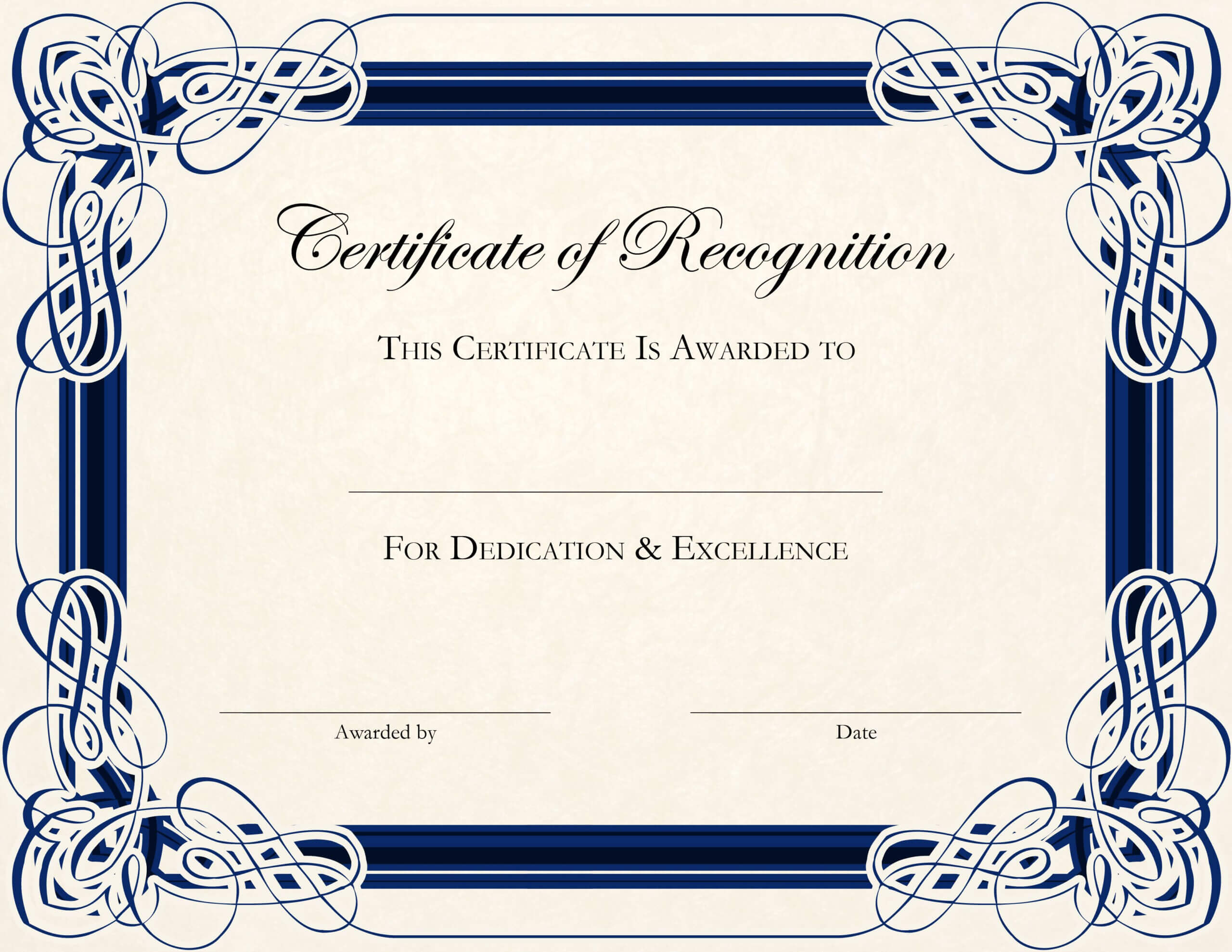 Certificate Template Designs Recognition Docs | Certificate For Certificate Of Recognition Word Template
