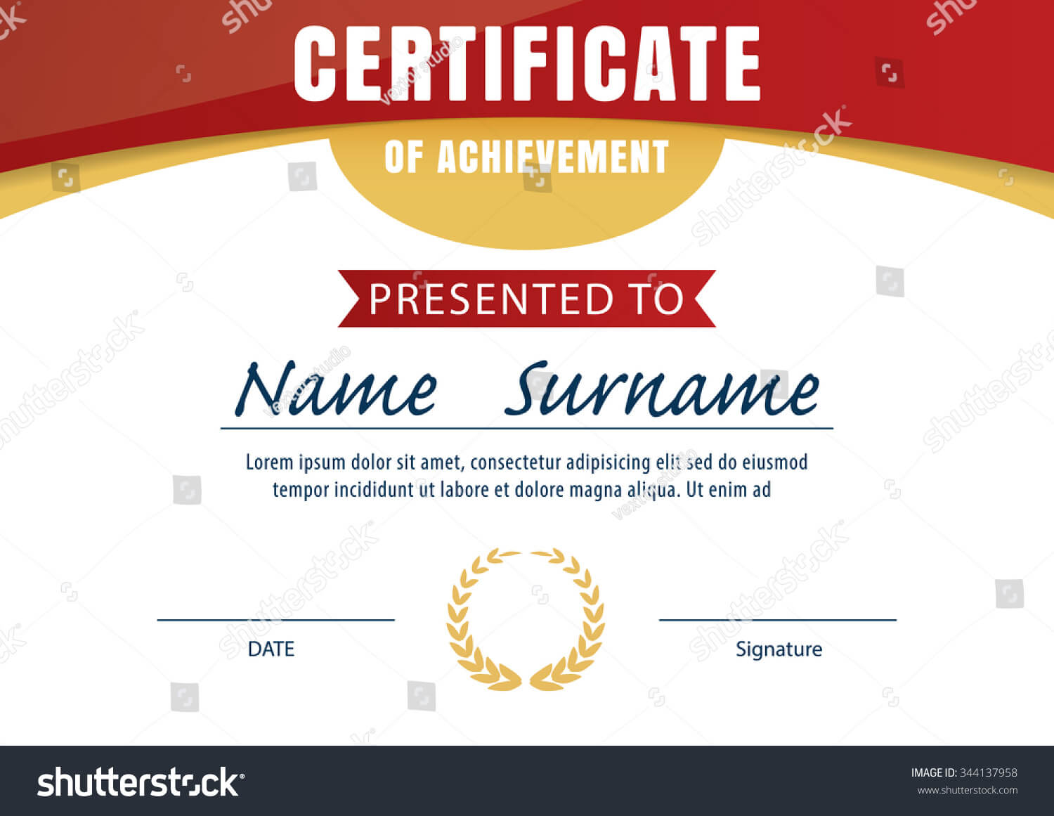 Certificate Template Diploma Layout A4 Size Stock Image Within Certificate Template Size