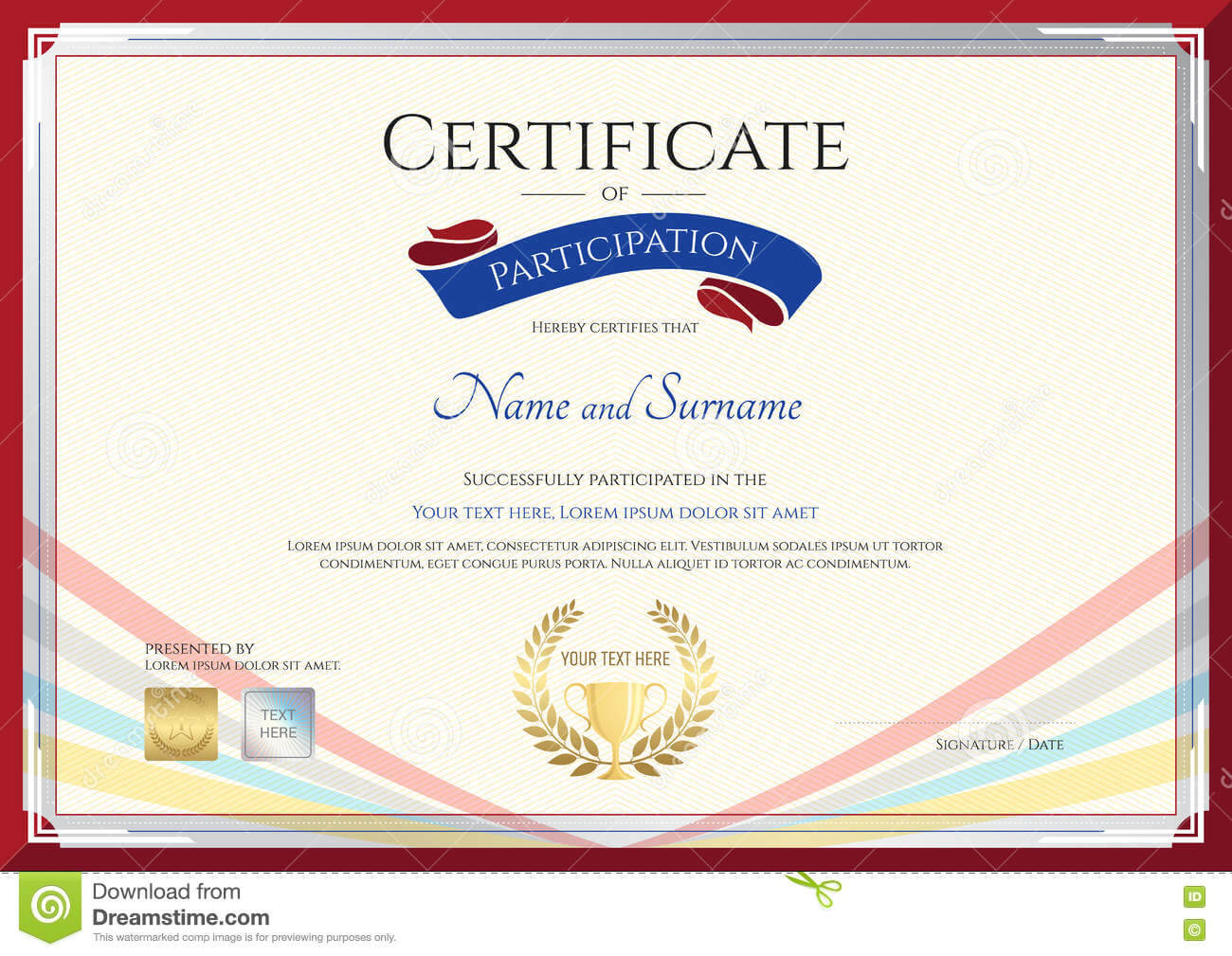 Certificate Template For Achievement, Appreciation Or With Regard To Conference Participation Certificate Template
