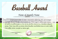 Certificate Template For Baseball Award Illustration throughout Softball Certificate Templates Free