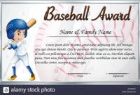 Certificate Template For Baseball Award With Baseball Player within Softball Award Certificate Template