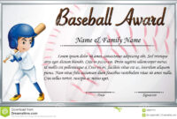 Certificate Template For Baseball Award With Baseball Player within Softball Certificate Templates Free