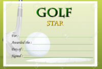 Certificate Template For Golf Star Illustration with regard to Golf Certificate Template Free