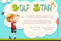 Certificate Template For Golf Star — Stock Vector within Golf Certificate Template Free