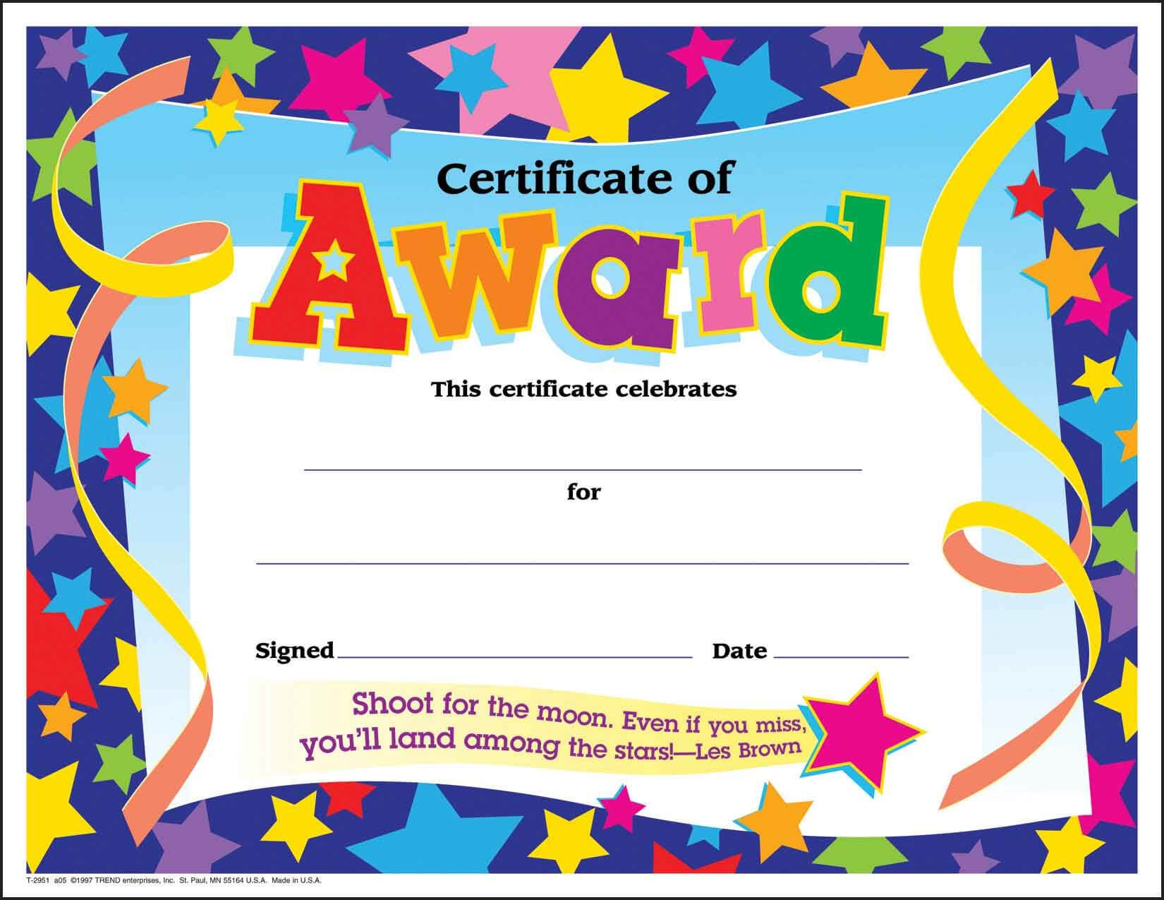 Certificate Template For Kids Free Certificate Templates Throughout Star Award Certificate Template