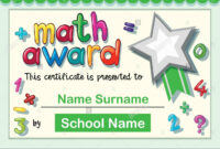 Certificate Template For Math Award Illustration Stock pertaining to Math Certificate Template