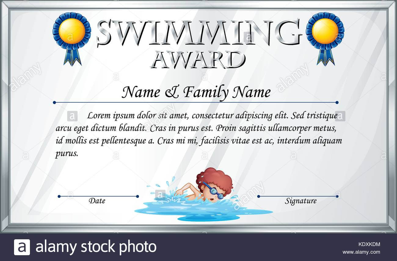 Certificate Template For Swimming Award Illustration Stock Throughout Swimming Award Certificate Template