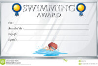 Certificate Template For Swimming Award Stock Vector regarding Swimming Award Certificate Template