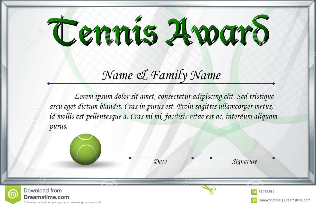 Certificate Template For Tennis Award Stock Vector In Tennis Certificate Template Free