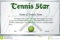 Certificate Template For Tennis Star Stock Vector pertaining to Tennis Gift Certificate Template