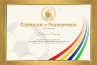 Certificate Template In Football Sport Color Stripe Theme With.. intended for Football Certificate Template