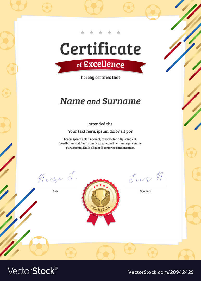Certificate Template In Football Sport Theme With With Football Certificate Template