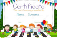 Certificate Template With Children Crossing Road Background intended for Crossing The Line Certificate Template