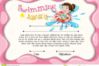 Certificate Template With Girl Swimming Stock Vector throughout Free Swimming Certificate Templates