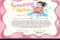 Certificate Template With Girl Swimming With Swimming Certificate Templates Free