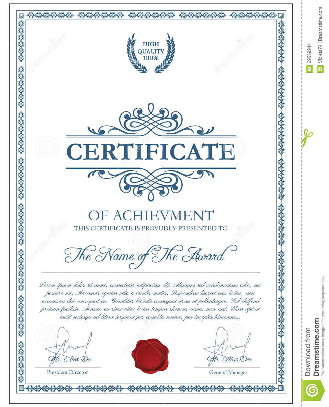 Certificate Template With Guilloche Elements. Stock Vector For Validation Certificate Template