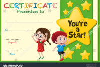 Certificate Template With Kids And Stars Illustration pertaining to Star Certificate Templates Free