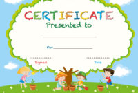 Certificate Template With Kids Planting Trees pertaining to Free Kids Certificate Templates