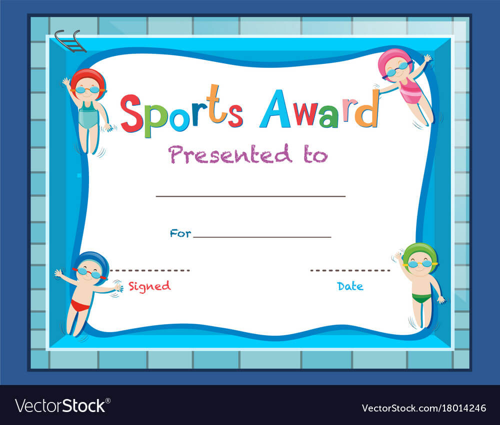 Certificate Template With Kids Swimming In Swimming Certificate Templates Free