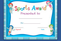 Certificate Template With Kids Swimming within Swimming Award Certificate Template