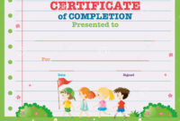 Certificate Template With Kids Walking In The Park Stock with Walking Certificate Templates
