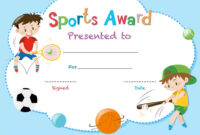 Certificate Template With Two Boys Playing Sports Vector Regarding Sports Day Certificate Templates Free