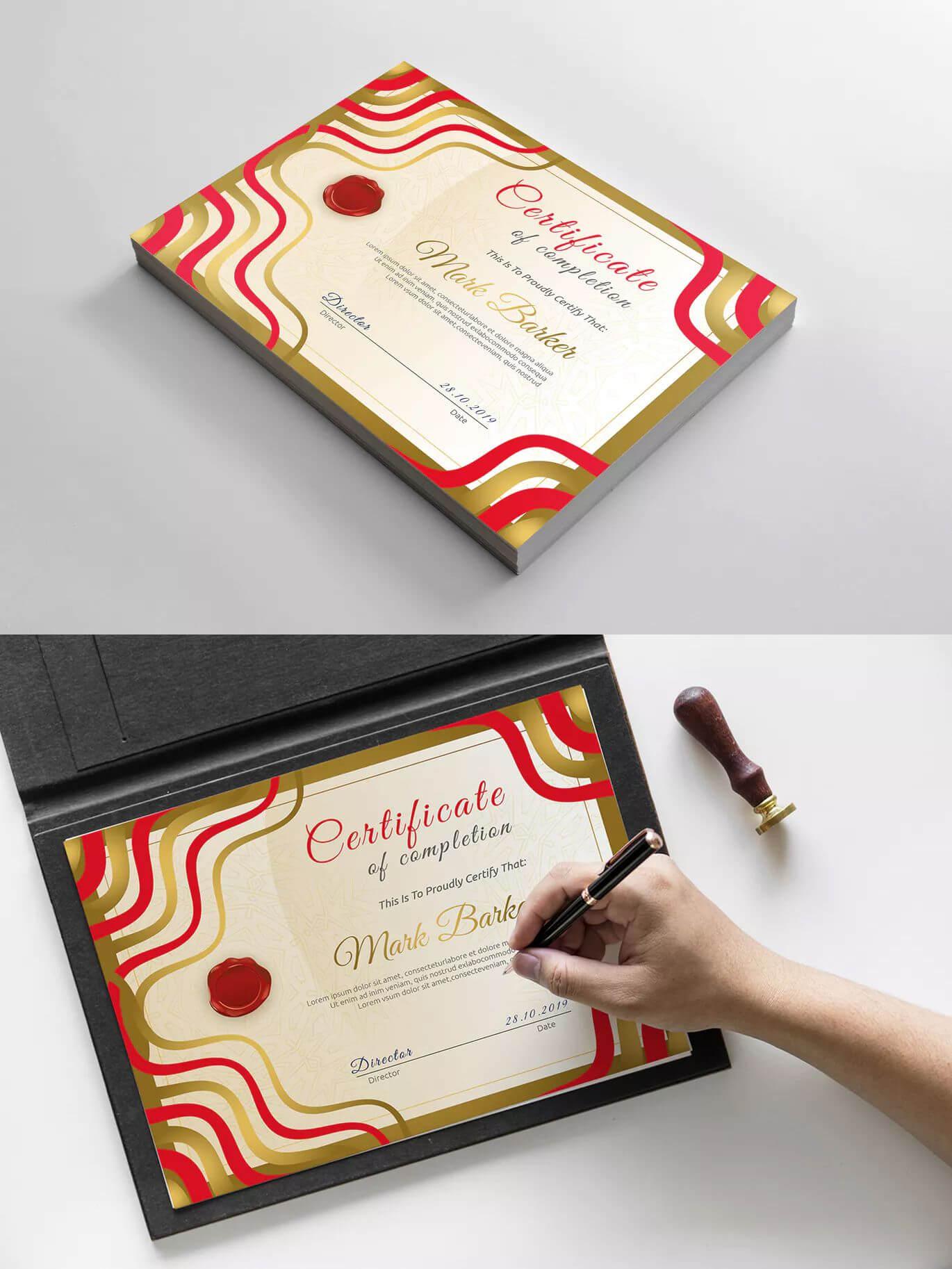 Certificatecurvedesign On | Certificate Templates With Indesign Certificate Template