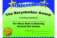 Certificates Fun Certificate From Funny Employee He Bar throughout Fun Certificate Templates