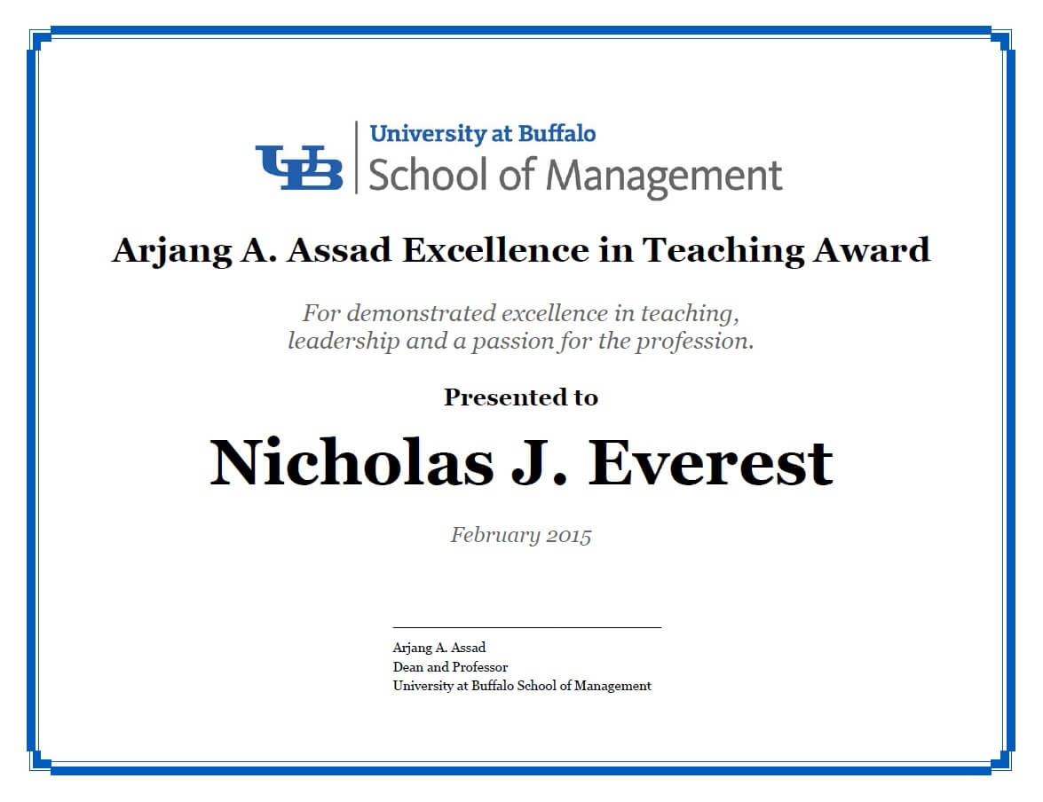 Certificates – School Of Management – University At Buffalo Within Leadership Award Certificate Template