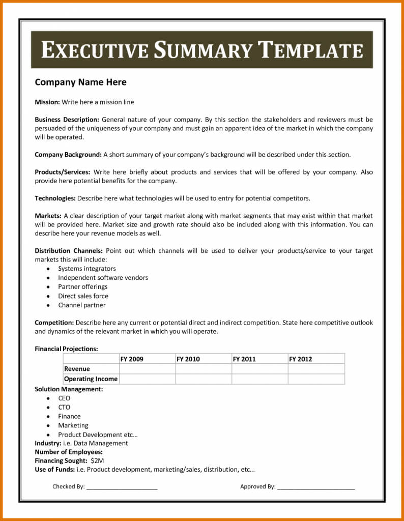 Certificates Templates , Financial Summary Report Template Inside Executive Summary Report Template