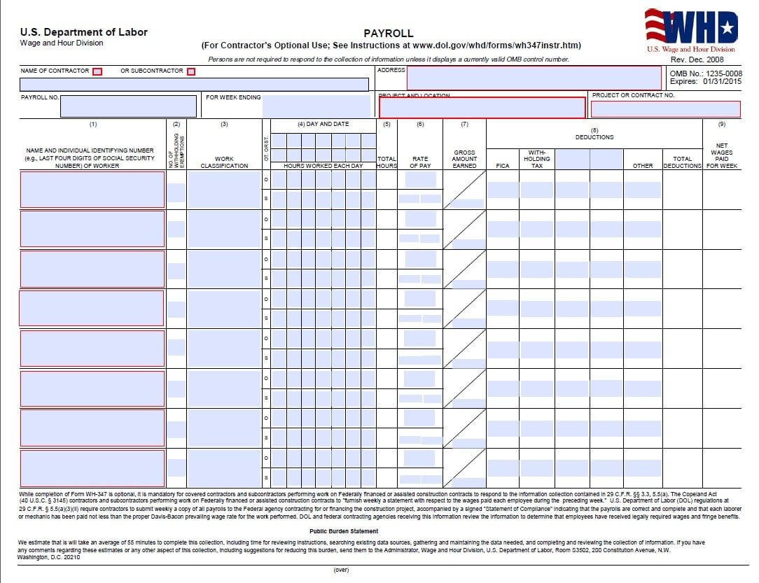 Certified Payroll Form - Page 1 (Wh347) | Deduction Pertaining To Dd Form 2501 Courier Authorization Card Template