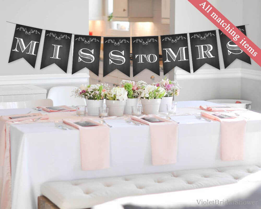 Chalkboard Bridal Shower Banner Template. Printable Bridal Intended For Bridal Shower Banner Template